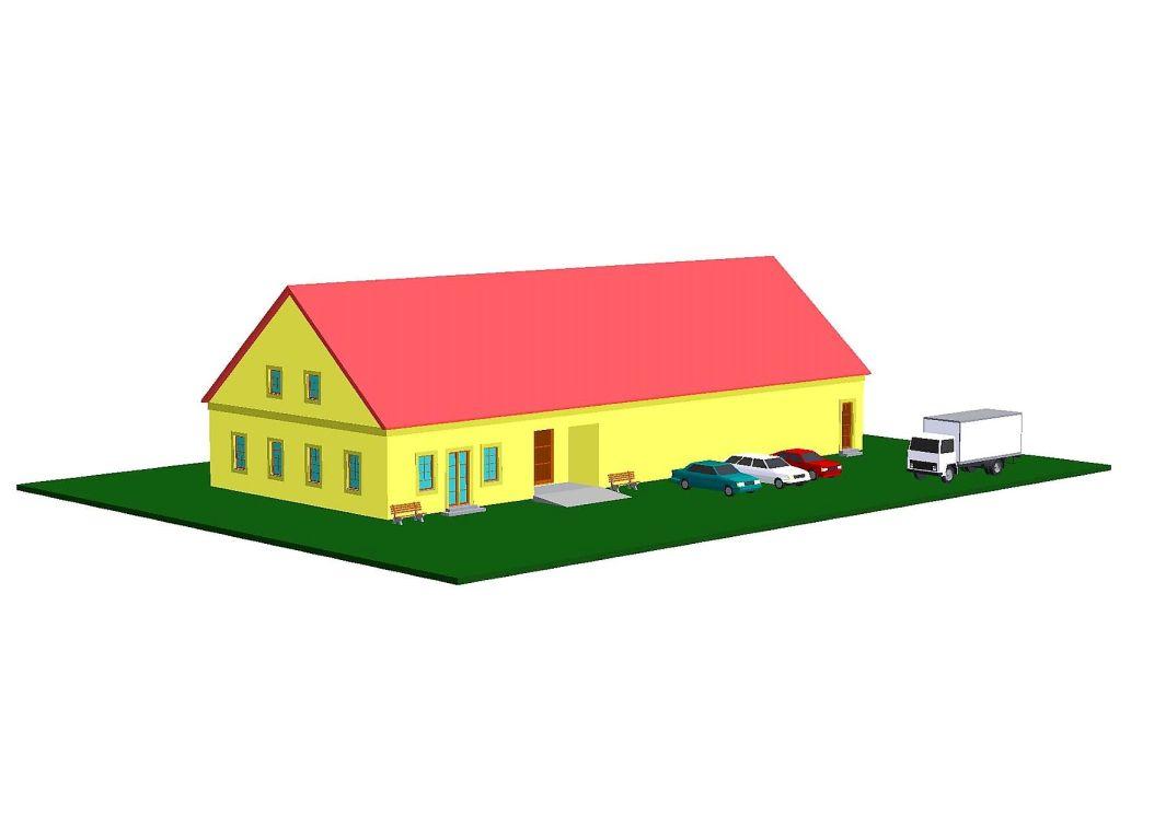 Vizualizace nového depozitáře v areálu fary v Robousích
