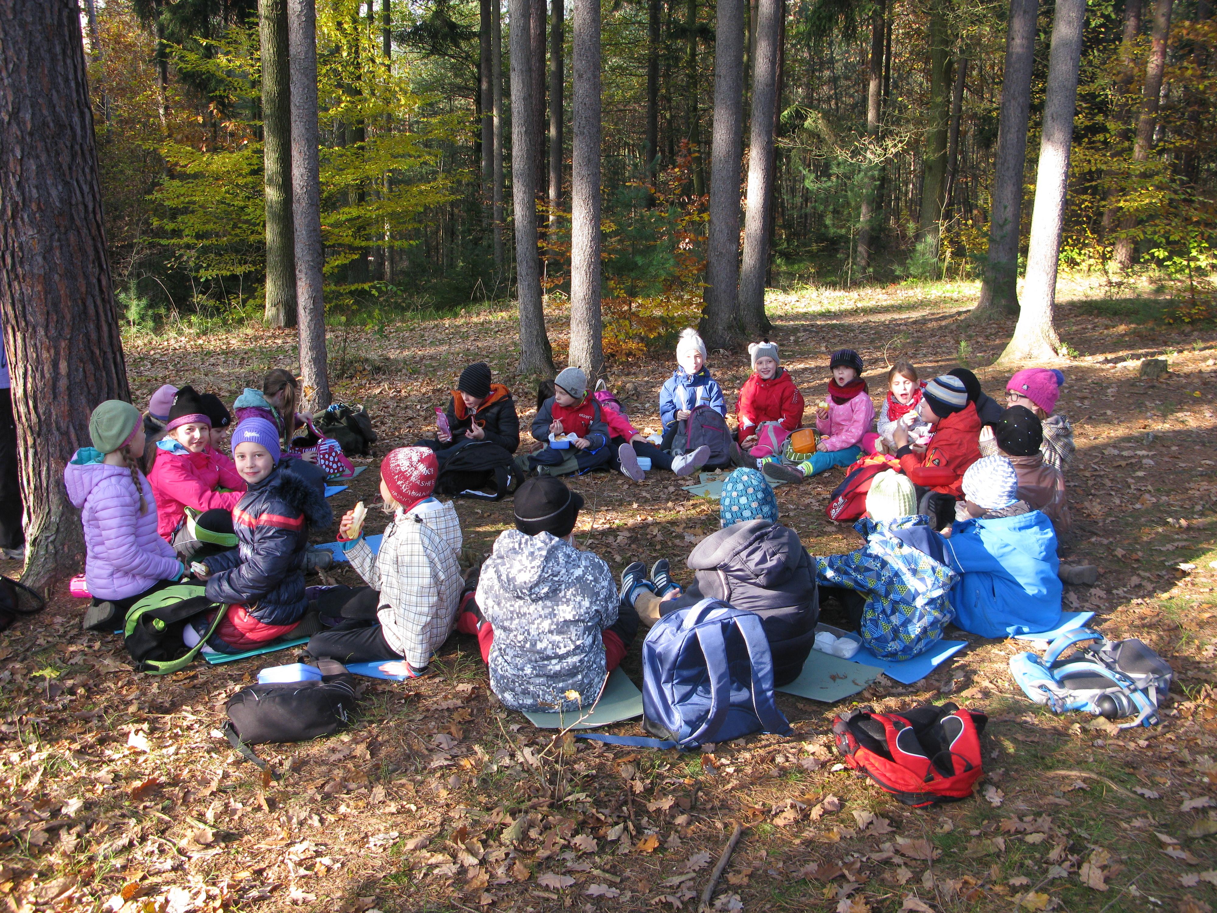 Děti na exkurzi v Městských lesích Hradec Králové