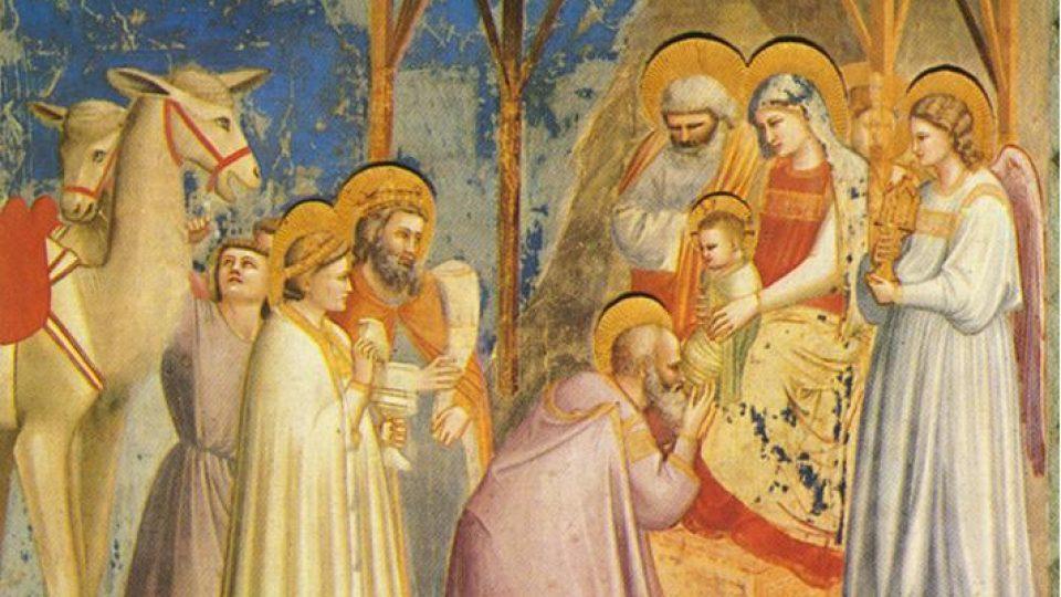 Giotto di Bondone (1266/7-1337): Klanění králů. Freska z kaple Scrovegniů v italské Padově.