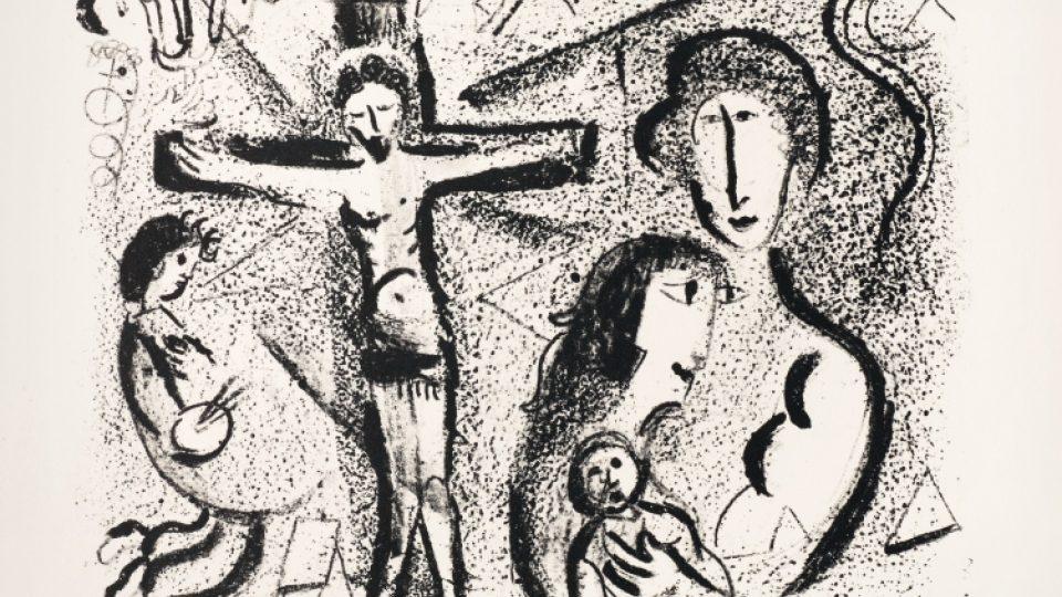 Marc Chagall: Kristus v rodině, 1959, litografie, Městská muzea v Žitavě