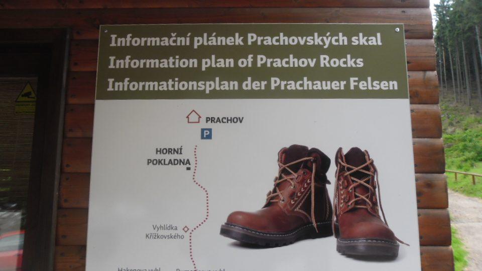 Prachovské skály - info plánek pro příchozí