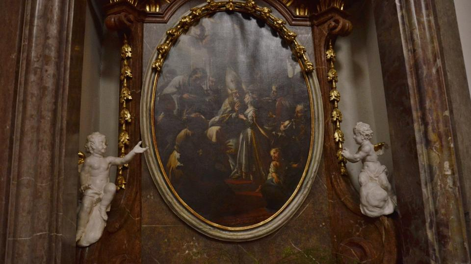 Obraz nad bočním oltářem, Petr Brandl - sv. Blažej žehnající mladé dívce