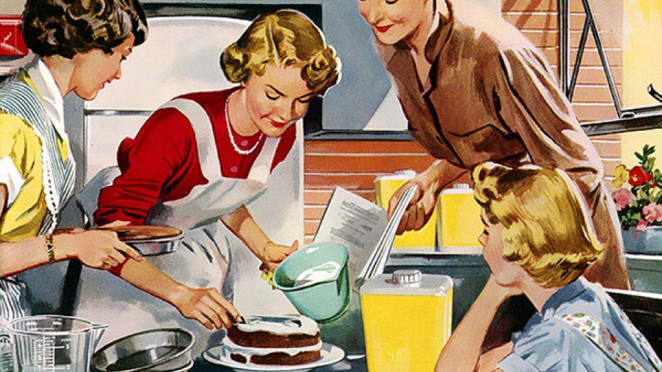 ženy, retro, kuchyně, vaření