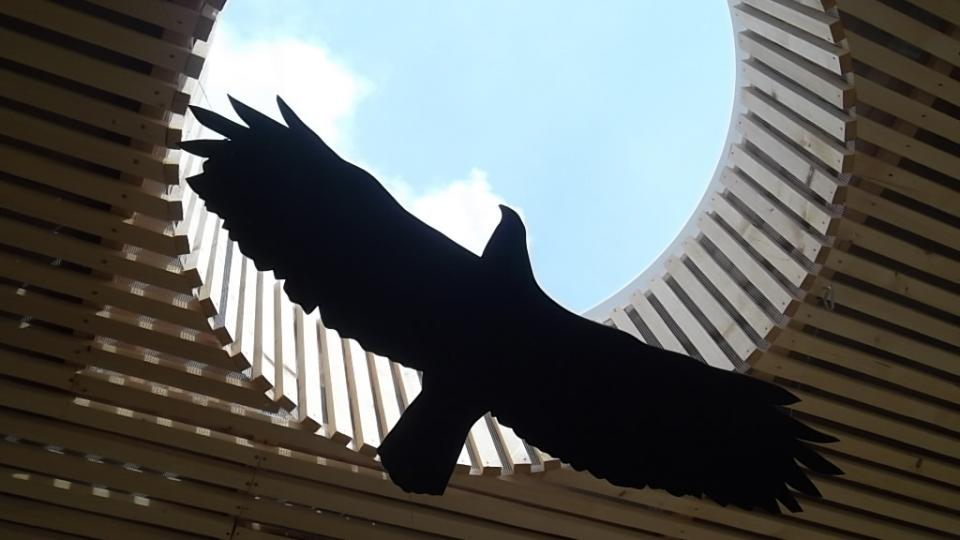 Expozice Beskydské nebe je pojata jako zastřešení amfiteátru na Horečkách se siluetami letících dravců