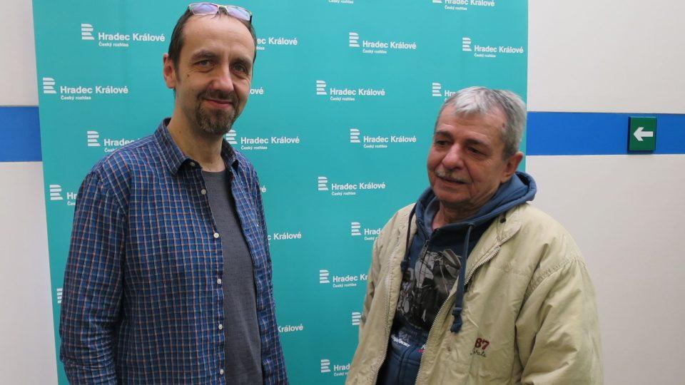 Tomáš Katschner a Pavel Dobeš ve studiu Českého rozhlasu Hradec Králové