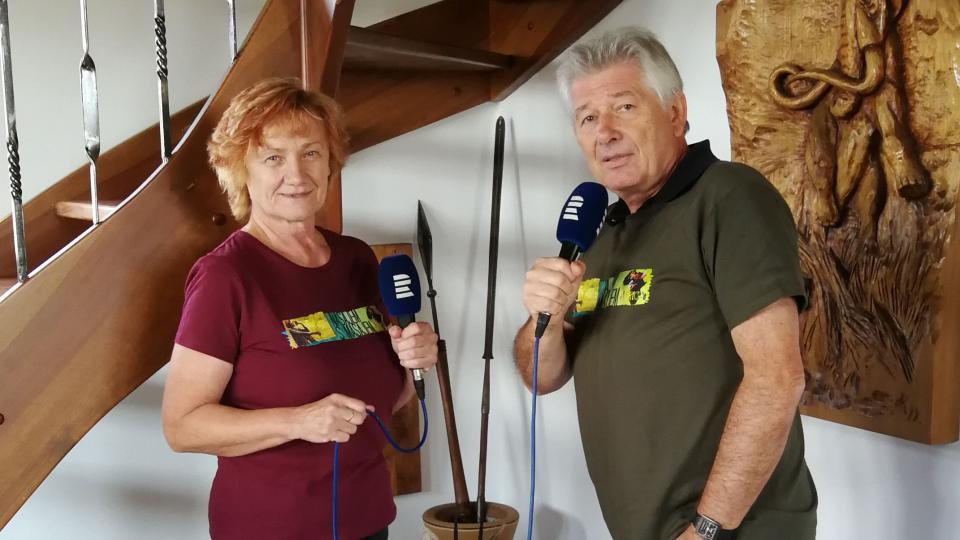 Petr Voldán a Lenka Vágnerová při natáčení rozhlasového pořadu