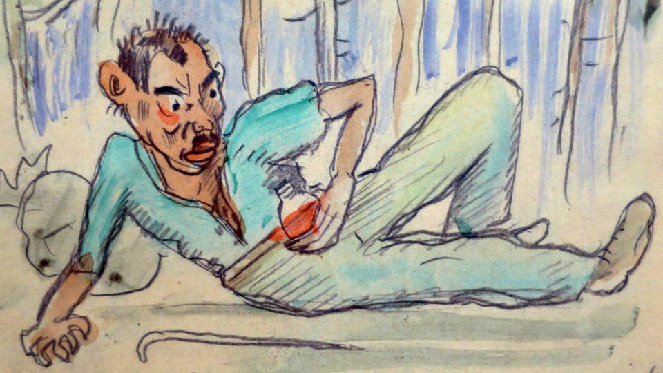 Detail kopie jednoho z obrázků Cestopisáku, který vytvořil Josef Váchal. Originál knihy pro výstavu v Litomyšli zapůjčil Památník národního písemnictví