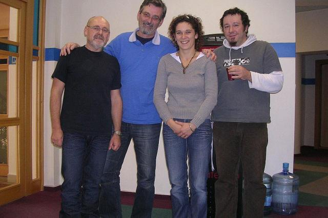 Zleva: Milan Poutník,  František Mifek,  Lucie Peterková a Tomáš Peterka.   foto: Milan Baják,  Český rozhlas