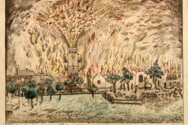 Požár Dobrušky z října 1866 na obraze Aloise Beera | foto: Wikimedia,  public domain