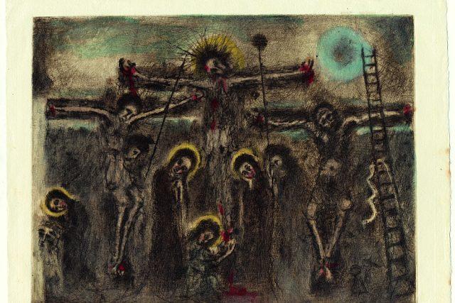 Bohuslav Reynek: Velké ukřižování, 1948, suchá jehla (s monotypem), 215 x 274 mm