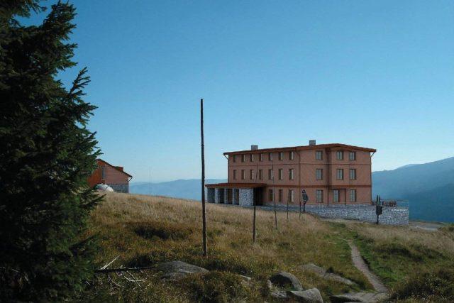 Vizualizace dostavby Petrovy boudy v Krkonoších