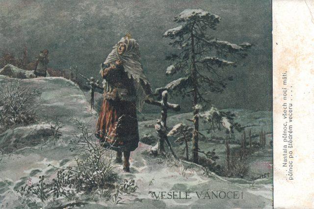 Josef Otakar Štěrba: Štědrý večer. Stará vánoční pohlednice | foto: Rodinný archiv Venduly Prokůpkové
