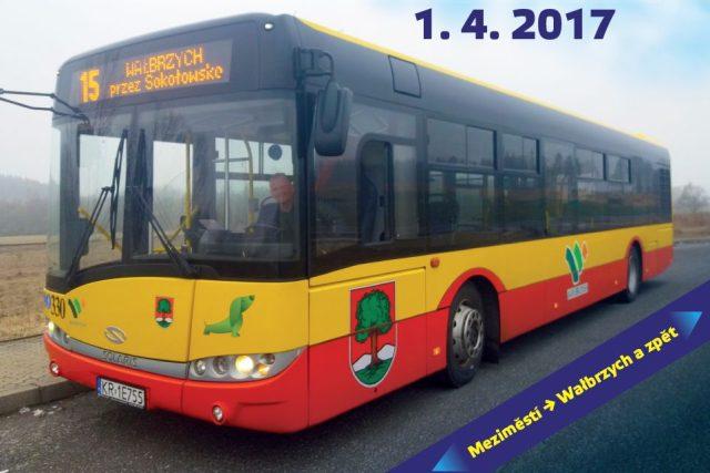 Provoz zahájí autobusová linky č. 15. Jde o propojení polského Walbrzychu přes Mieroszów do Meziměstí na Náchodsku