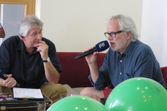 Petr Voldán a František Kinský v radioklubu Českého rozhlasu Hradec Králové