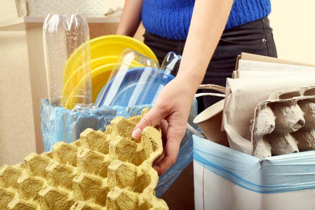 Třídění odpadu, odpadky, plast, papír