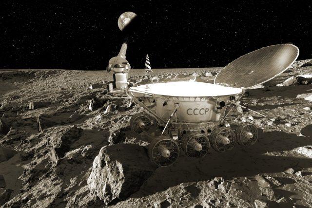 Lunochod 1 na Měsíci,  počítačová ilustrace | foto: Fotobanka Profimedia