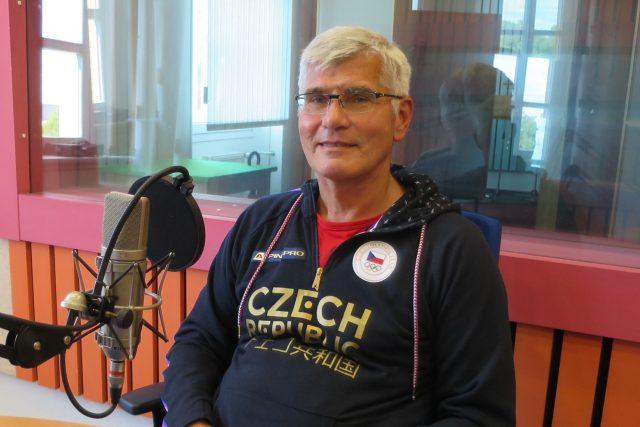 Jiří Beran ve studiu Českého rozhlasu Hradec Králové   foto: Milan Baják,  Český rozhlas