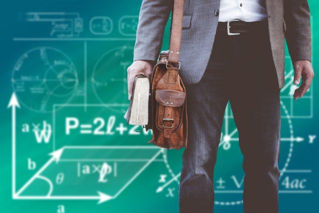učitel, student, škola, matematika