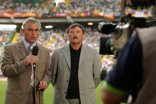 Pavel Čapek s Antonínem Panenkou při komentování Mistrovství Evropy ve fotbale v Německu