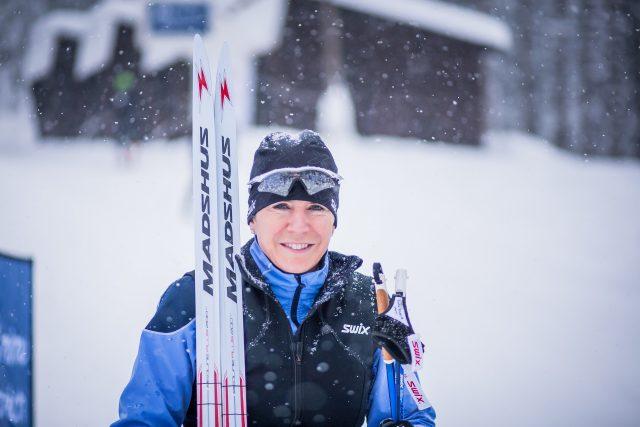 Kateřina Neumannová s běžkami na Churáňově (únor 2018)