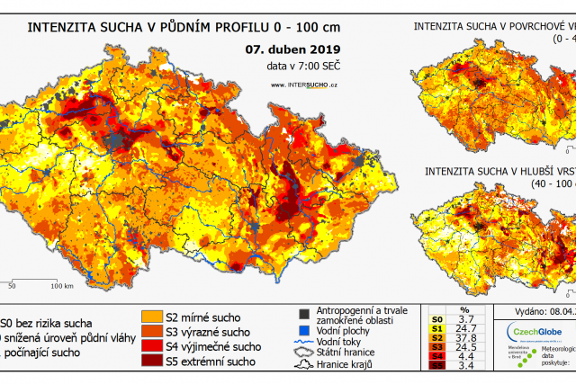 Intenzita sucha v půdním profilu 0 - 100 cm - 7. duben 2019