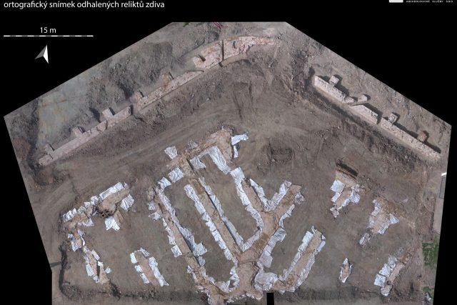 Gayerova kasárna - ortografický snímek odhalených reliktů zdiva