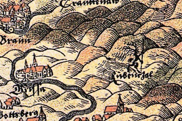 Helwigova mapa Slezska z roku 1561 - vydání z roku 1685 - první zobrazení Krakonoše (německy Rübezahl)